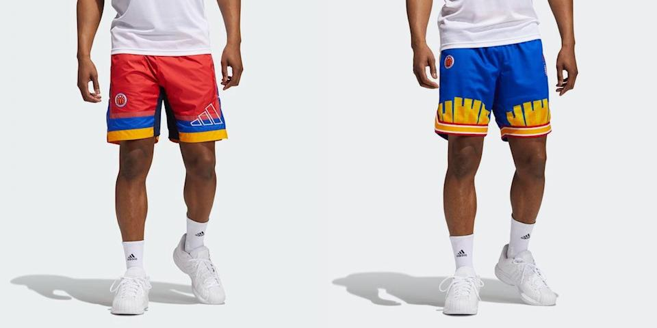 Side by side shots of men wearing McDonald's All American Games apparel from Adidas, one pair red the other blue