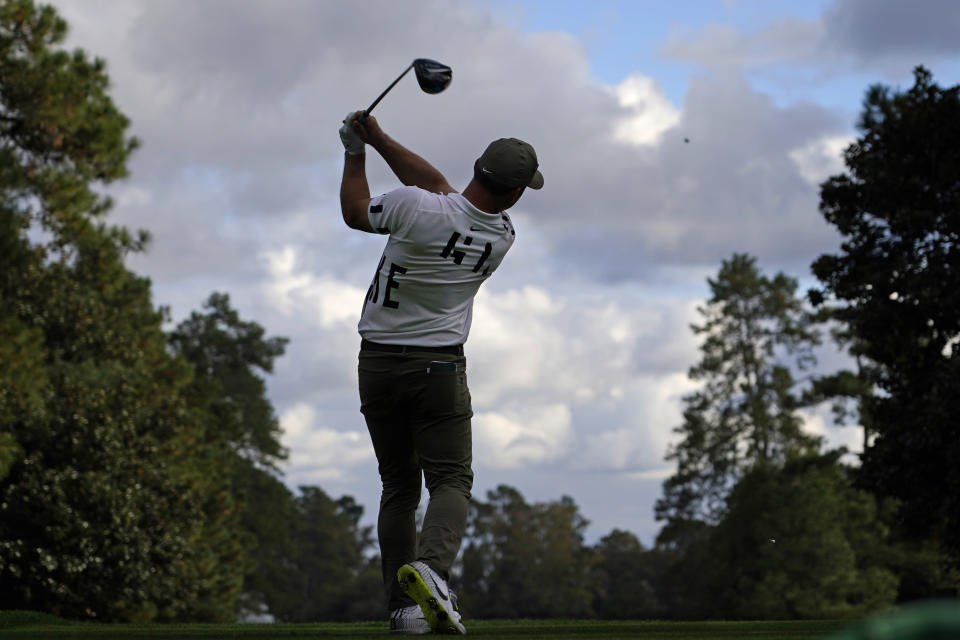 Paul Casey, of England, tees off on the ninth hole during the first round of the Masters golf tournament Thursday, Nov. 12, 2020, in Augusta, Ga. (AP Photo/Charlie Riedel)