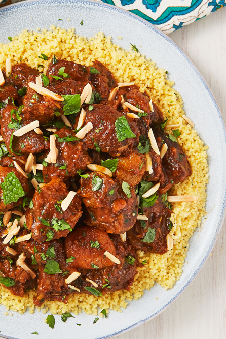"""<p>Don't write off making a tagine if you don't own a tagine pot. We made ours in a Dutch oven and it comes out perfectly! The lamb simmers until it is completely tender, while making your kitchen smell like a fancy Moroccan restaurant.</p><p>Get the <a href=""""https://www.delish.com/uk/cooking/recipes/a30311113/moroccan-lamb-tagine-recipe/"""" rel=""""nofollow noopener"""" target=""""_blank"""" data-ylk=""""slk:Moroccan Lamb Tagine"""" class=""""link rapid-noclick-resp"""">Moroccan Lamb Tagine</a> recipe.</p>"""