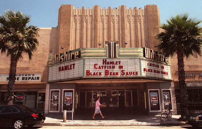 <p>The landmark Wilshire Theatre, the only remaining building from the pre-World War II era in the 1300 block of Wilshire Boulevard.</p>