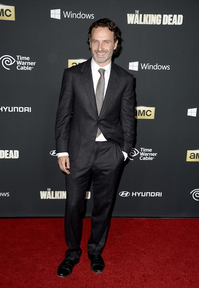"""UNIVERSAL CITY, CA - OCTOBER 03: Actor Andrew Lincoln arrives at the premiere of AMC's """"The Walking Dead"""" 4th season at Universal CityWalk on October 3, 2013 in Universal City, California. (Photo by Frazer Harrison/Getty Images)"""