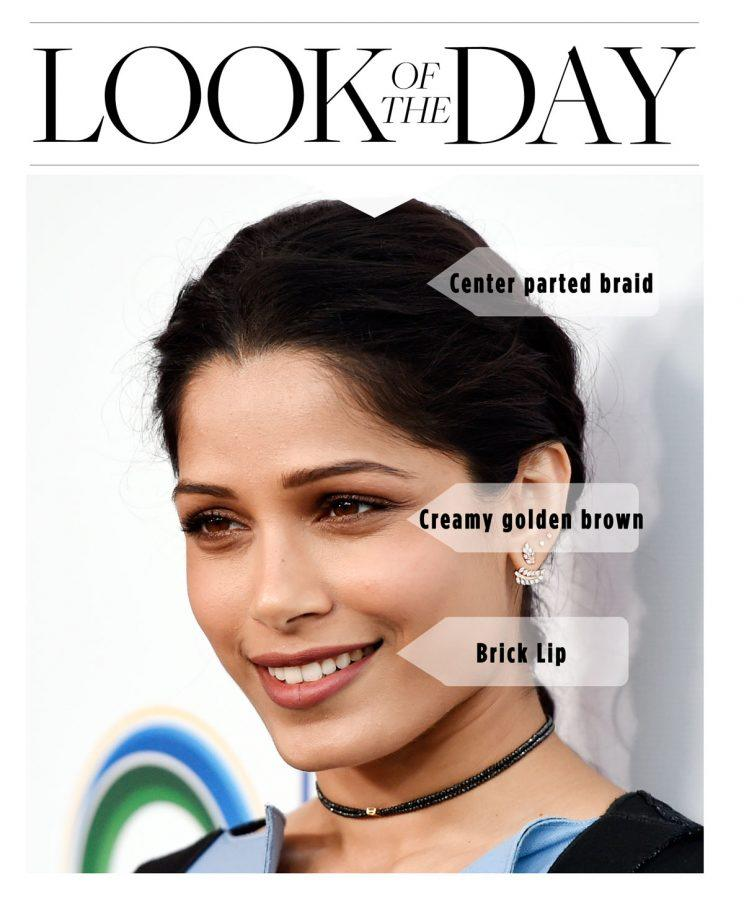Freida pinto, ucla, makeup, hair, braid, beauty look, cream eyeshadow, '90s beauty