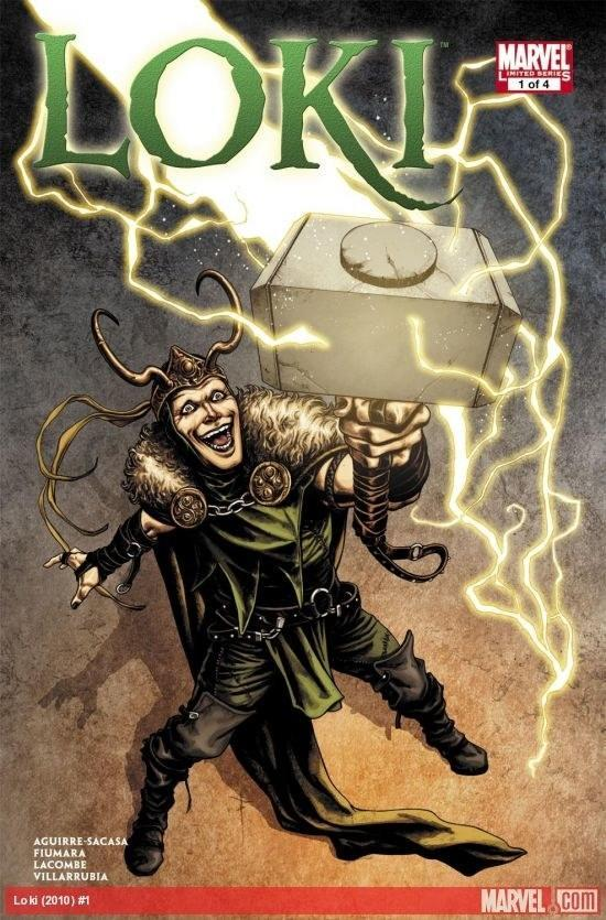 Marvel comic cover for Loki where he's holding Mjolnir and wearing a horned helmet and a cape that has fur