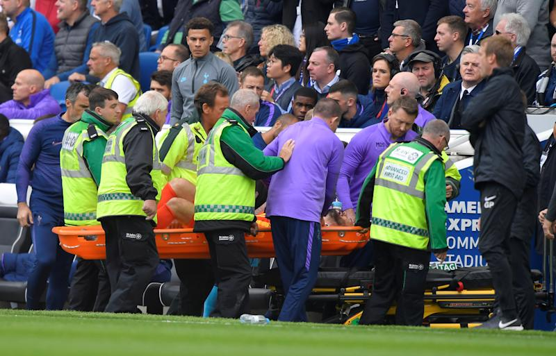 Tottenham Hotspur goalkeeper Hugo Lloris had to be removed from the field after injuring his arm Saturday against Brighton. (Toby Melville/Reuters)