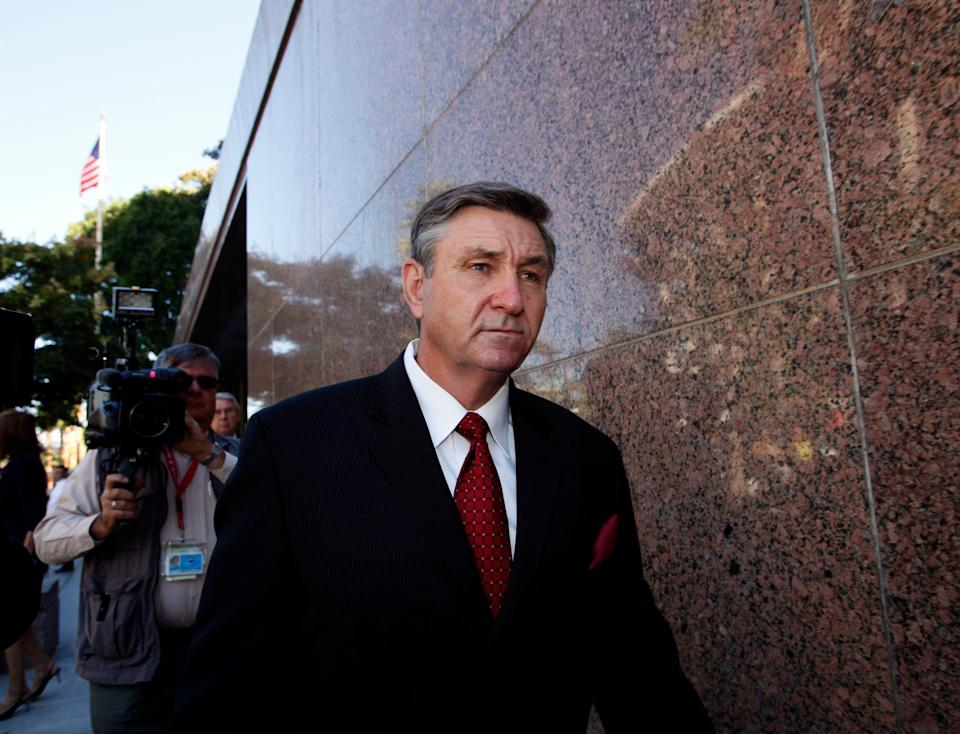 Jamie Spears, father of Britney Spears, leaves court on Oct. 24, 2012, in Los Angeles.
