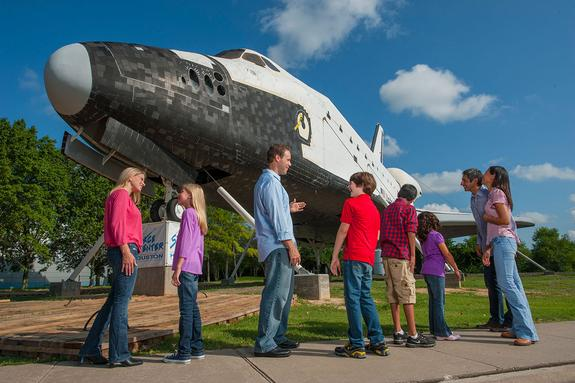 Space Center Houston's full-size space shuttle mockup went on display outside the NASA Johnson Space Center visitor center in 2012. In 2015, it will be displayed atop NASA's historic Shuttle Carrier Aircraft.