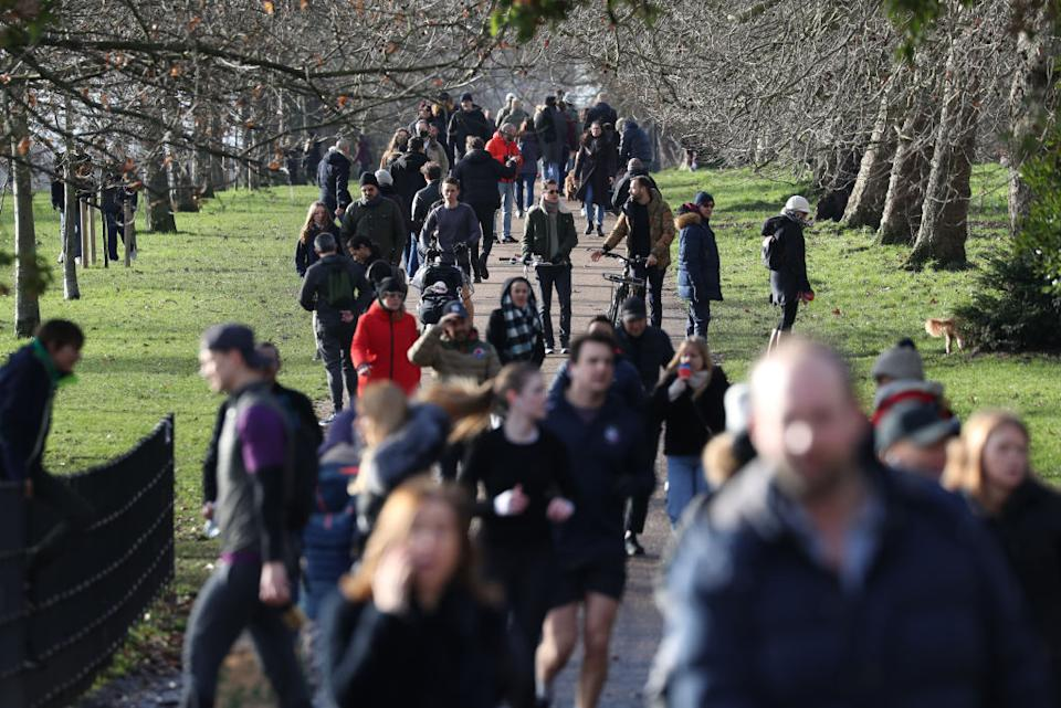 People walk in Hyde Park during  England's third national lockdown.