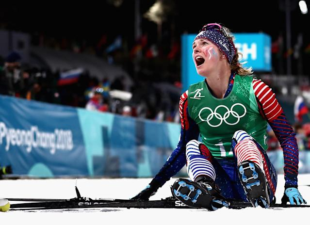 <p>Jessica Diggins of the United States reacts as she wins gold during the Cross Country Ladies' Team Sprint Free Final on day 12 of the PyeongChang 2018 Winter Olympic Games at Alpensia Cross-Country Centre on February 21, 2018 in Pyeongchang-gun, South Korea. (Photo by Lars Baron/Getty Images) </p>