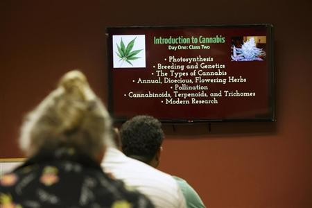 Students take notes during a introduction to cannabis course at the Medical Marijuana Tampa campus in Tampa, Florida