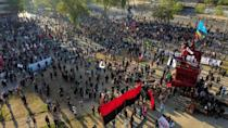 Mapuche indigenous flags have been visible flying over demonstrations against Chilean President Sebastian Pinera's government