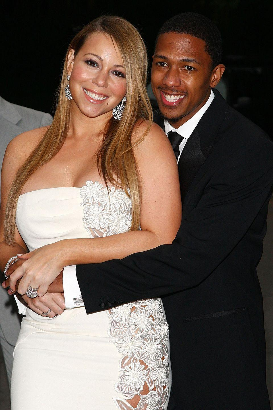 "<p>They may have known each other for a few years, but they only dated for a few weeks before marrying in the Bahamas in 2008, according to <em><a href=""https://www.eonline.com/news/585824/nick-cannon-files-for-divorce-from-mariah-carey-after-6-years-of-marriage-report"" rel=""nofollow noopener"" target=""_blank"" data-ylk=""slk:E! News"" class=""link rapid-noclick-resp"">E! News</a></em>. As far as celeb marriages go, theirs lasted six years (a good run!), but they divorced in 2014.</p>"