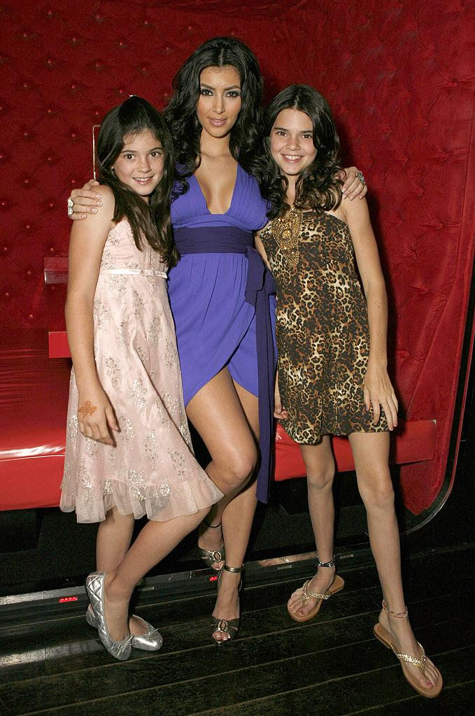 Kylie Jenner, Kim Kardashian and Kendall Jenner pictured in October 2017. (Photo: Getty Images)