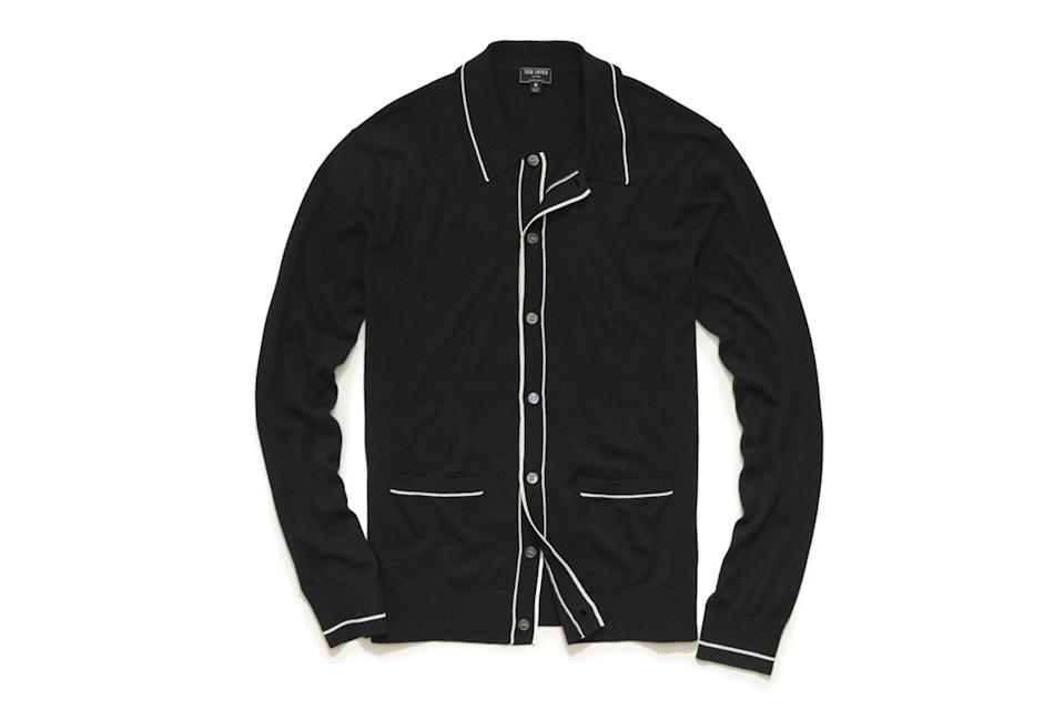 """$248, Todd Snyder. <a href=""""https://www.toddsnyder.com/collections/sweaters/products/ls-button-down-sweater-polo-black"""" rel=""""nofollow noopener"""" target=""""_blank"""" data-ylk=""""slk:Get it now!"""" class=""""link rapid-noclick-resp"""">Get it now!</a>"""