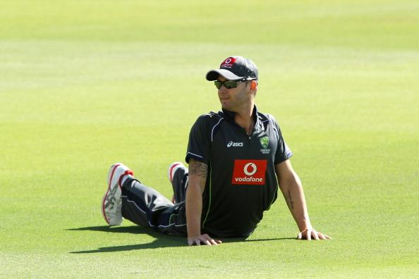 ADELAIDE, AUSTRALIA - NOVEMBER 19: Michael Clarke of Australia stretches during an Australian training session at Adelaide Oval on November 19, 2012 in Adelaide, Australia.  (Photo by Morne de Klerk/Getty Images)