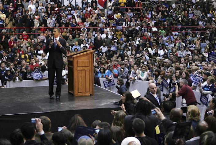 Barack Obama campaigns at a rally at Ohio State University in Columbus, Ohio, in 2008.