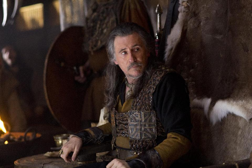 "This image released by History shows Gabriel Byrne as Earl Haraldson in a scene from ""Vikings,"" premiering Sunday, March 3 on History. (AP Photo/History, Jonathan Hession)"