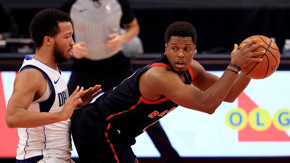This has to be a front-runner for the Kyle Lowry statue. (Photo by Mike Ehrmann/Getty Images)