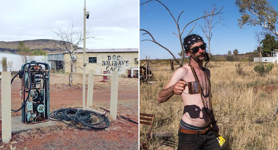 An abandoned petrol station and a traveller posing with a cup of coffee in Wittenoom.