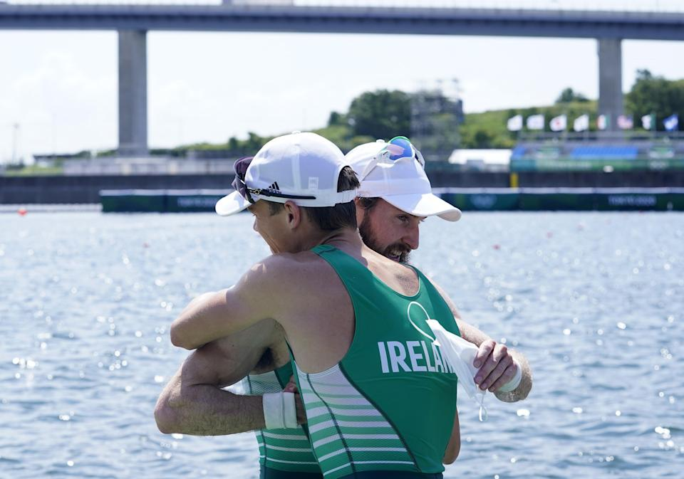 Ireland's Paul O'Donovan and Fintan McCarthy celebrate victory in the lightweight double sculls at Tokyo 2020 (Danny Lawson/PA) (PA Wire)