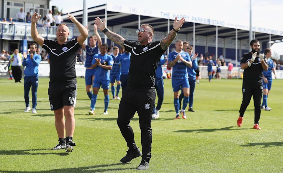 BILLERICAY, ENGLAND - SEPTEMBER 02:  Manager Glenn Tamplin of Billericay Town and his players thank the home support during The Emirates FA Cup Qualifying First Round match between Billericay Town and Didcot Town on September 2, 2017 in Billericay, England.  (Photo by Matthew Lewis/Getty Images)