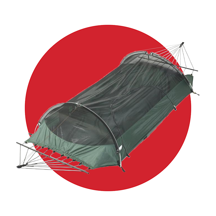 """<p>lawsonhammock.com</p><p><strong>$199.00</strong></p><p><a href=""""https://go.redirectingat.com?id=74968X1596630&url=https%3A%2F%2Fwww.lawsonhammock.com%2Fcollections%2Fhammocks-and-accessories%2Fproducts%2Fblue-ridge-camping-hammock&sref=https%3A%2F%2Fwww.menshealth.com%2Ftechnology-gear%2Fg36954813%2Fmens-health-outdoor-awards-2021%2F"""" rel=""""nofollow noopener"""" target=""""_blank"""" data-ylk=""""slk:BUY IT HERE"""" class=""""link rapid-noclick-resp"""">BUY IT HERE</a></p><p>Skip the tent and spend the night under the stars—literally. The Blue Ridge Camping Hammock, which comes with a built-in bug net and attachable rainfly, will give you a gravity-defying camping experience. Be sure to lean back and relax in this as you sway to the sounds of nature. </p>"""