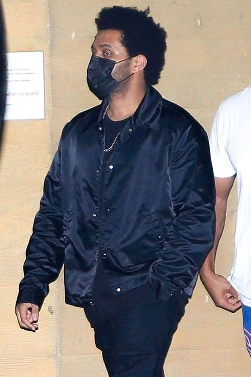 <p>The Weeknd spends an evening out with friends at Nobu Malibu on Monday night.</p>
