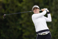 Hannah Green tees off at the second hole during the final round of the LPGA's Hugel-Air Premia LA Open golf tournament at Wilshire Country Club Saturday, April 24, 2021, in Los Angeles. (AP Photo/Ashley Landis)