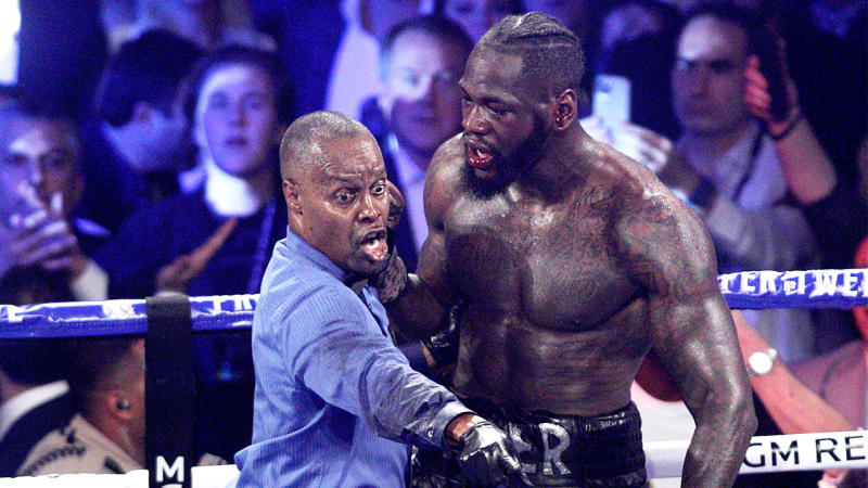Referee Kenny Bayless points to the towel and holds Deontay Wilder.