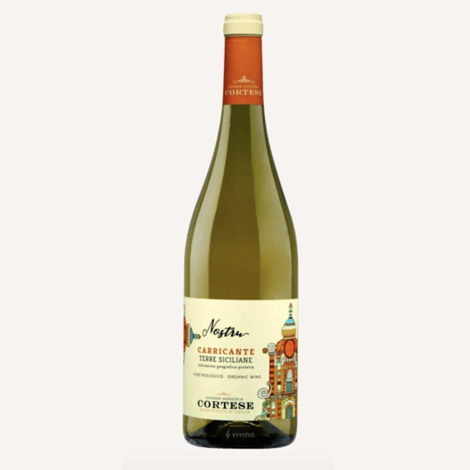 """<p><strong>Cortese</strong></p><p>totalwine.com</p><p><strong>$14.99</strong></p><p><a href=""""https://www.totalwine.com/wine/white-wine/carricante/cortese-organic-nostru-carricante-terre-siciliane-igp/p/219485750"""" rel=""""nofollow noopener"""" target=""""_blank"""" data-ylk=""""slk:Shop Now"""" class=""""link rapid-noclick-resp"""">Shop Now</a></p><p>For savory squash dishes (perhaps garnished with a smattering of cheese?), a dry but fruity white wine is the way forward. With its bright apple, peach, apricot, and Meyer lemon flavors, the Sicilian grape Carricante's vibrant freshness and ripe fruit are a clever pairing for most types of squash.</p>"""