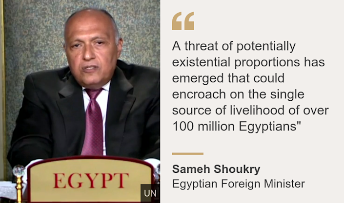 """""""A threat of potentially existential proportions has emerged that could encroach on the single source of livelihood of over 100 million Egyptians"""""""", Source: Sameh Shoukry, Source description: Egyptian Foreign Minister, Image: Sameh Shoukry"""