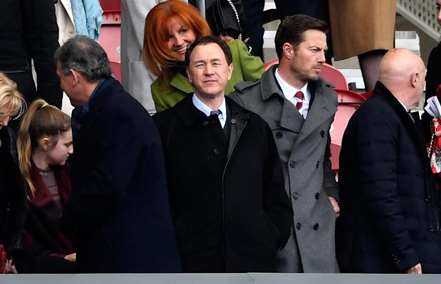 <p>Middlesbrough owner Steve Gibson looks on as United come to town </p>
