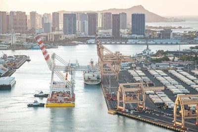 Matson's new cranes arrive at Honolulu terminal.