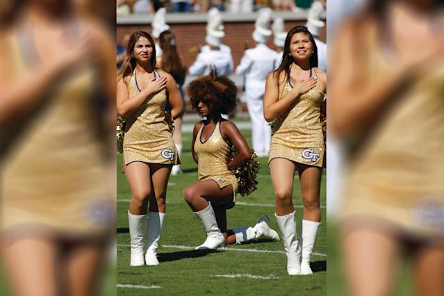 Raianna Brown, seen kneeling on the football field in a national anthem protest, is going viral for reposting a photo from that day over the weekend. (Photo: David J. Griffin/Icon Sportswire)