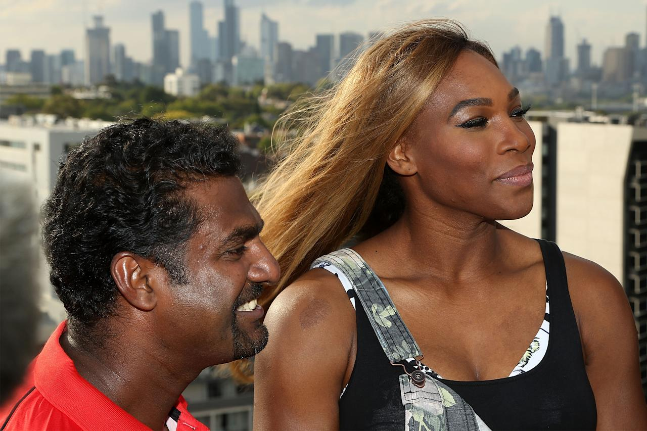 MELBOURNE, AUSTRALIA - JANUARY 09: Melbourne Renegades player Muthiah Muralidaran (L) and Venus Williams of the USA look on during a meet & greet with the Melbourne Renegades at The Olsen on January 9, 2014 in Melbourne, Australia. (Photo by Graham Denholm/Getty Images)