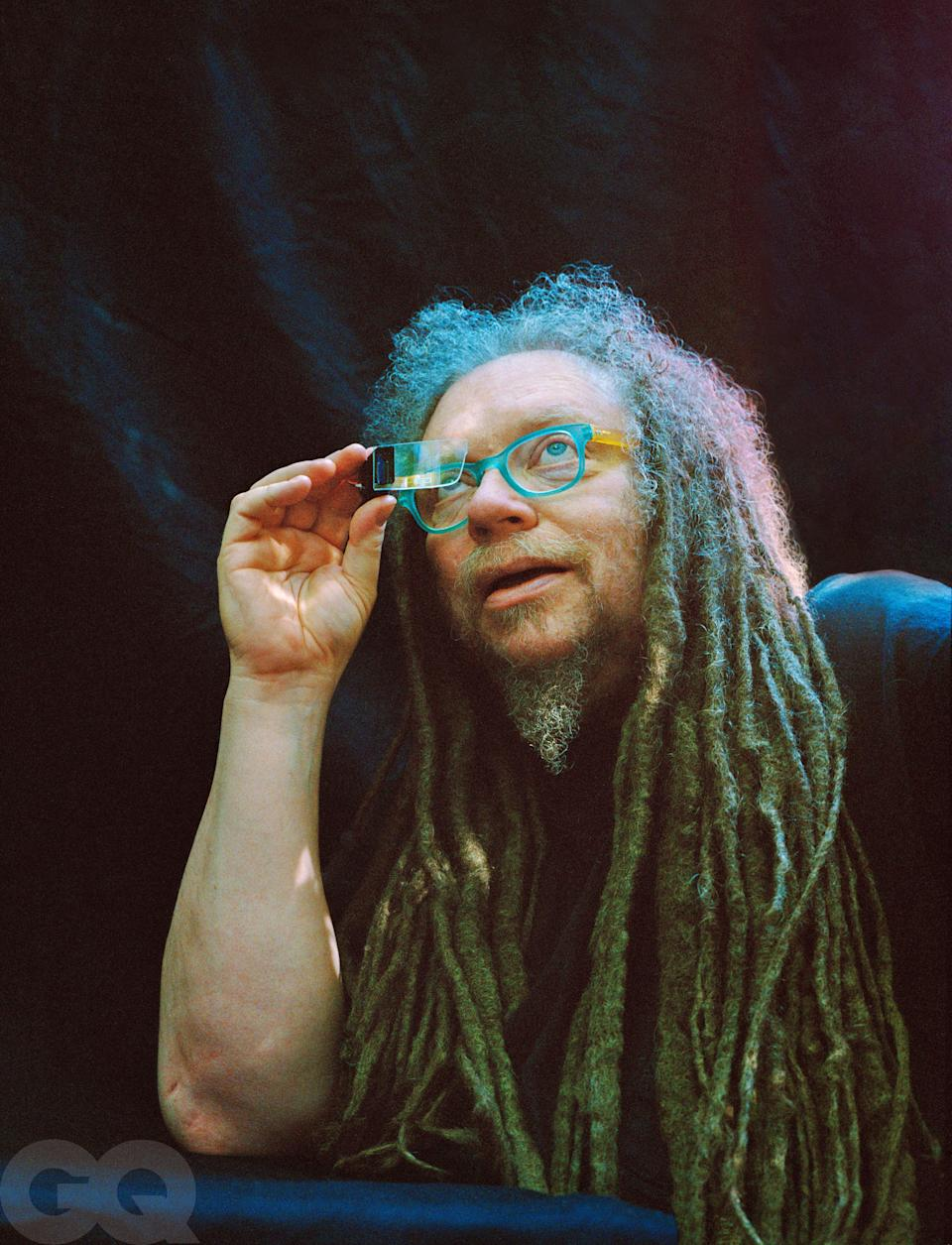 Jaron Lanier, photographed at home with a decades-old lens from an augmented-reality headset.