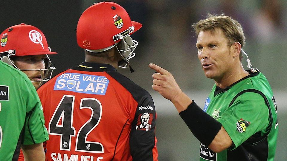Shane Warne and Marlon Samuels haven't seen eye to eye since their infamous run in during the Big Bash League in 2013. (Photo by Michael Dodge/Getty Images)