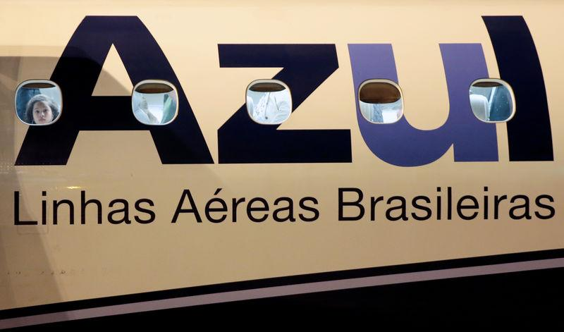 A logo of Azul Brazilian Airlines is seen on a plane at International Airport in Guarulhos