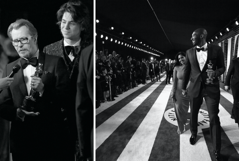 Gary Oldman (left) and Kobe Bryant (right) were two of the stars of the 90th Academy Awards on Sunday night. (Getty)
