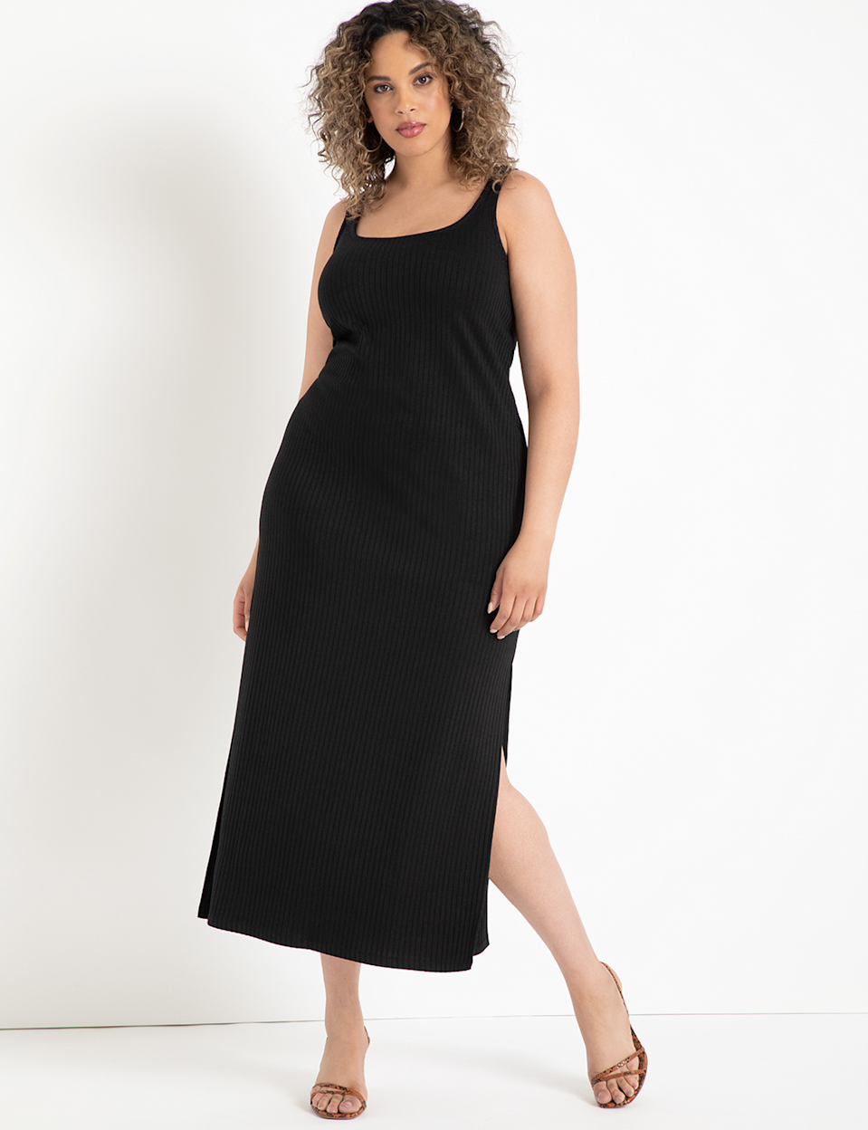 """This is what I like to call a """"going out"""" nightgown because it <em>feels</em> like pajamas, but <em>looks</em> like a million bucks. <br><br><strong>Eloquii</strong> Ribbed Tank Maxi Dress, $, available at <a href=""""https://go.skimresources.com/?id=30283X879131&url=https%3A%2F%2Fwww.eloquii.com%2Fribbed-tank-maxi-dress%2F1227127.html%3Fdwvar_1227127_colorCode%3D100"""" rel=""""nofollow noopener"""" target=""""_blank"""" data-ylk=""""slk:Eloquii"""" class=""""link rapid-noclick-resp"""">Eloquii</a>"""
