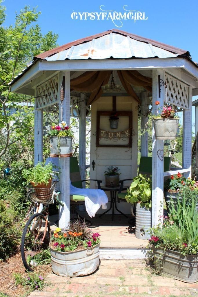 """<p>The sign says it all. The owners of this shabby chic gazebo literally pulled it out of the trash and transformed it into a cozy, charming retreat.</p><p><strong>Get the look at <a href=""""https://www.gypsyfarmgirl.net/2011/08/gazebo-reveal.html"""" rel=""""nofollow noopener"""" target=""""_blank"""" data-ylk=""""slk:Gypsy Farm Girl"""" class=""""link rapid-noclick-resp"""">Gypsy Farm Girl</a>. </strong></p><p><a class=""""link rapid-noclick-resp"""" href=""""https://go.redirectingat.com?id=74968X1596630&url=https%3A%2F%2Fwww.etsy.com%2Flisting%2F219972538%2F60-inch-natural-burlap-by-the-yard&sref=https%3A%2F%2Fwww.countryliving.com%2Fdiy-crafts%2Fg30932979%2Fgazebo-ideas%2F"""" rel=""""nofollow noopener"""" target=""""_blank"""" data-ylk=""""slk:SHOP BURLAP FABRIC"""">SHOP BURLAP FABRIC</a></p>"""