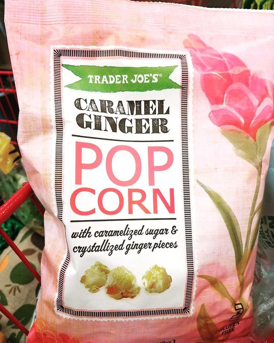 """<p>Gone are the days of popcorn just being <a href=""""https://www.bestproducts.com/eats/food/g576/gourmet-popcorn-kettle-corn/"""" rel=""""nofollow noopener"""" target=""""_blank"""" data-ylk=""""slk:sea salt or white cheddar flavor"""" class=""""link rapid-noclick-resp"""">sea salt or white cheddar flavor</a>! This new kind has caramelized sugar and crystallized ginger pieces, adding a sweet version of the snack to TJ's shelves!</p>"""