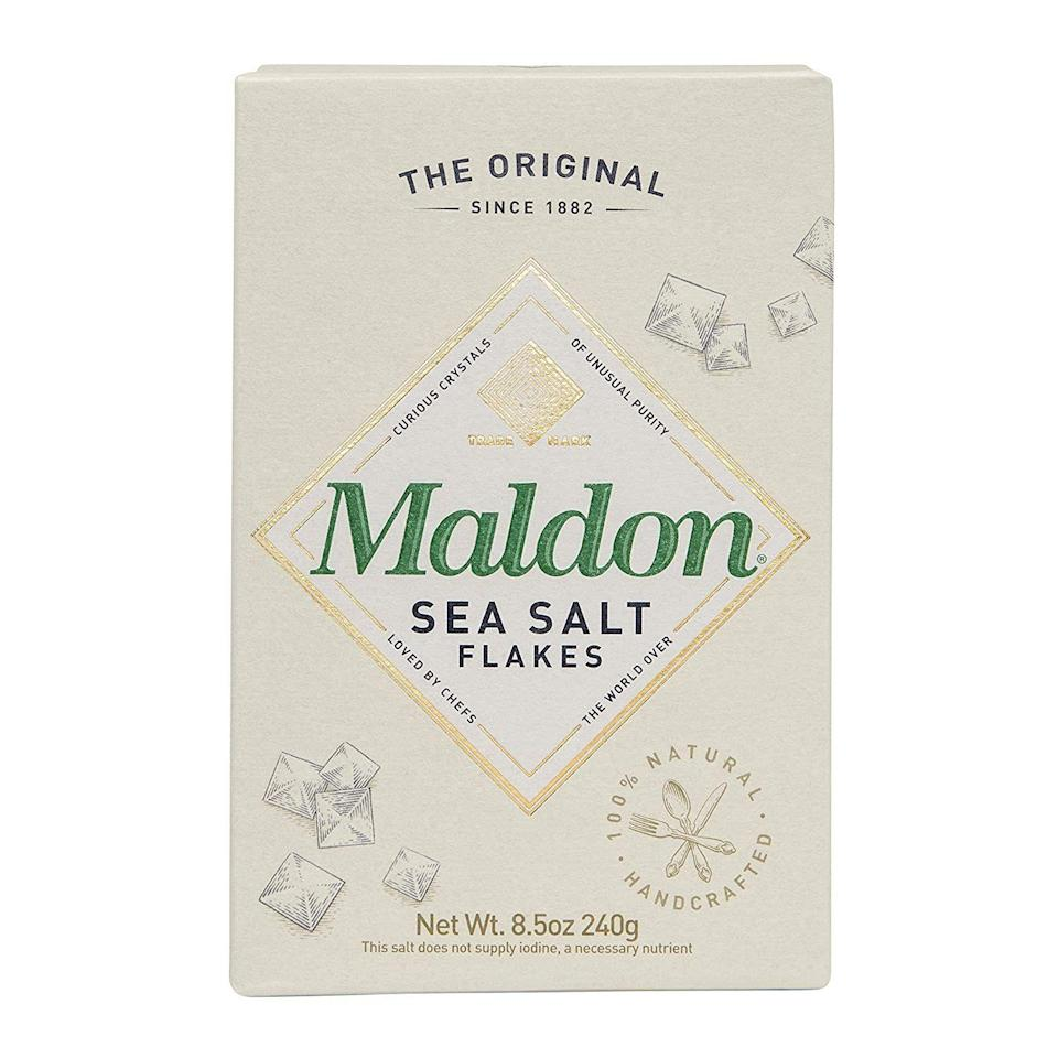 """<p><strong>Maldon</strong></p><p>amazon.com</p><p><strong>$8.44</strong></p><p><a href=""""https://www.amazon.com/dp/B00017028M?tag=syn-yahoo-20&ascsubtag=%5Bartid%7C2141.g.34860244%5Bsrc%7Cyahoo-us"""" rel=""""nofollow noopener"""" target=""""_blank"""" data-ylk=""""slk:SHOP NOW"""" class=""""link rapid-noclick-resp"""">SHOP NOW</a></p><p>We know, we know—sea salt isn't exactly a normal gift. But this gem is some of the <strong>highest-rated salt available anywhere</strong>, and reviewers rave about how incredible it tastes. Any home chef would be proud to own a box. Stash it in with a basket of goodies and you're set!<br></p>"""