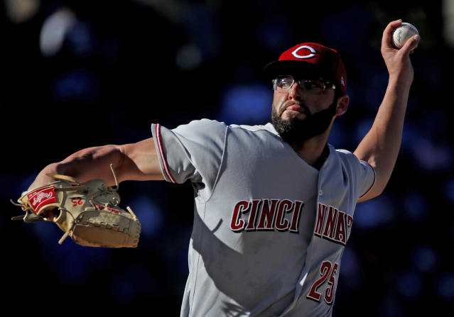 Cincinnati Reds starting pitcher Cody Reed delivers during the fourth inning of a baseball game against the Chicago Cubs, in Chicago, on Saturday, Sept. 15, 2018. (AP Photo/Jeff Haynes)
