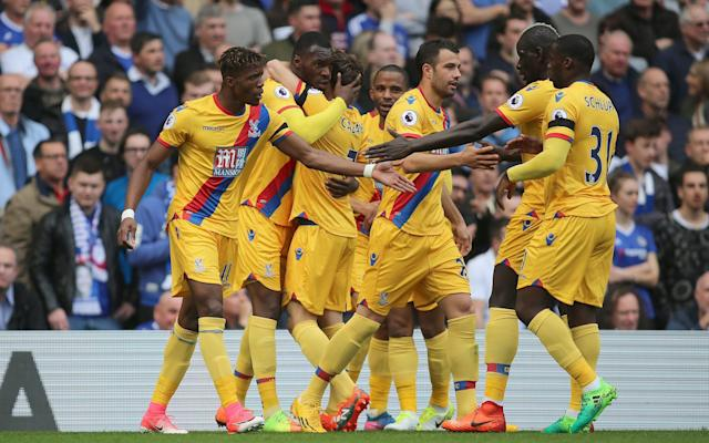 <span>Palace celebrate win over Chelsea</span>