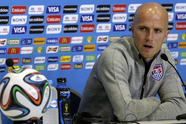 United States' Michael Bradley attends a press conference before an official training session the day before the group G World Cup soccer match between Ghana and the United States at the Arena das Dunas in Natal, Brazil, Sunday, June 15, 2014. (AP Photo/Dolores Ochoa)