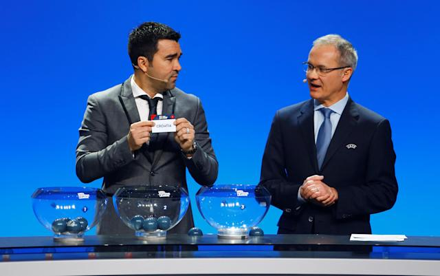 Soccer Football - UEFA Nations League Group Draw - Lausanne, Switzerland - January 24, 2018 Deco draws Croatia in group 4, league A REUTERS/Pierre Albouy