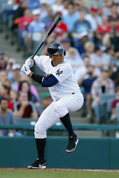 New York Yankees third baseman Alex Rodriguez rears back to take a swing during the first inning of a Class AA baseball game with the Trenton Thunder against the Reading Phillies Saturday, Aug. 3, 2013, in Trenton, N.J. (AP Photo/Rich Schultz)