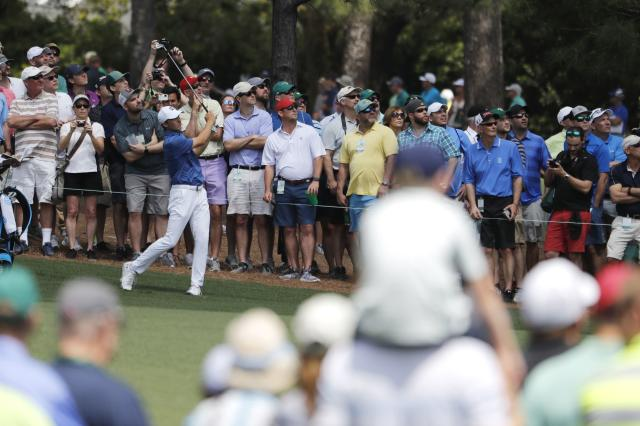 Jordan Spieth of the U.S. hits on the 9th fairway during the second day of practice for the 2018 Masters golf tournament at Augusta National Golf Club in Augusta, Georgia, U.S. April 3, 2018. REUTERS/Jonathan Ernst