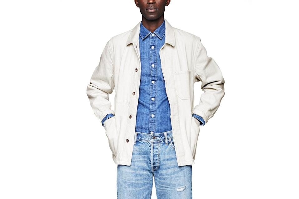 "$398, Todd Snyder. <a href=""https://www.toddsnyder.com/collections/sale/products/chore-jacket-beige"" rel=""nofollow noopener"" target=""_blank"" data-ylk=""slk:Get it now!"" class=""link rapid-noclick-resp"">Get it now!</a>"