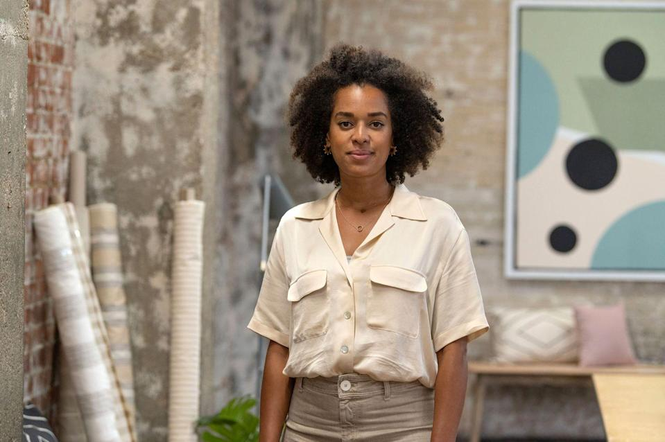 """<p>Micaela, from South East London, is an upholsterer. She wanted to be part of the show as she wants to 'inspire people to be bolder in their own schemes at <a href=""""https://www.housebeautiful.com/uk/decorate/a33635574/zen-home/"""" rel=""""nofollow noopener"""" target=""""_blank"""" data-ylk=""""slk:home"""" class=""""link rapid-noclick-resp"""">home</a>'.</p><p><strong>Q:</strong> What was it about series one that made you want to apply?</p><p><strong>A: </strong>'As an upholsterer I loved watching series one because the designers were all so hands on making things. It really inspired me to consider what else I could make myself other than upholstered furniture.</p><p>'I applied to the show to prove to myself that I am more than an upholsterer and I am capable of designing a commercial space from start to finish. I think interiors have such an impact on people's mood and they play a valuable part in our lives. So shows like this can inspire people to be bolder in their own schemes at home and never has that been more important than now.'</p>"""